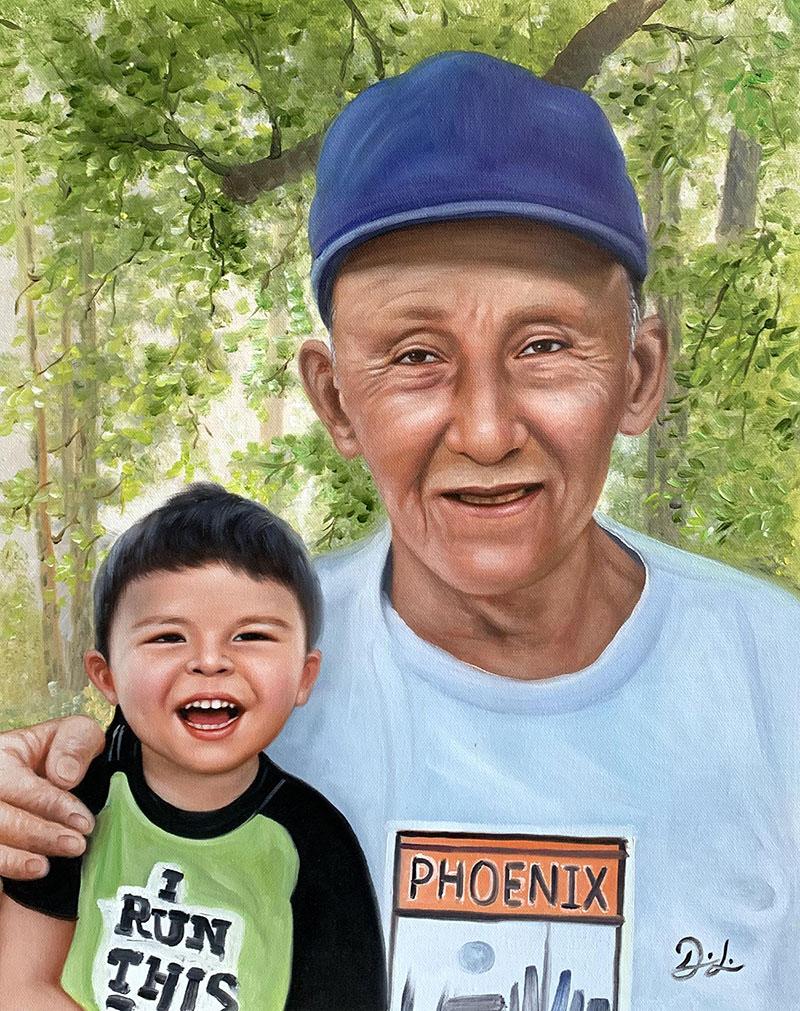 Beautiful oil portrait of a grandfather and a grandchild