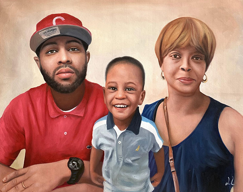Beautiful handmade oil painting of a family