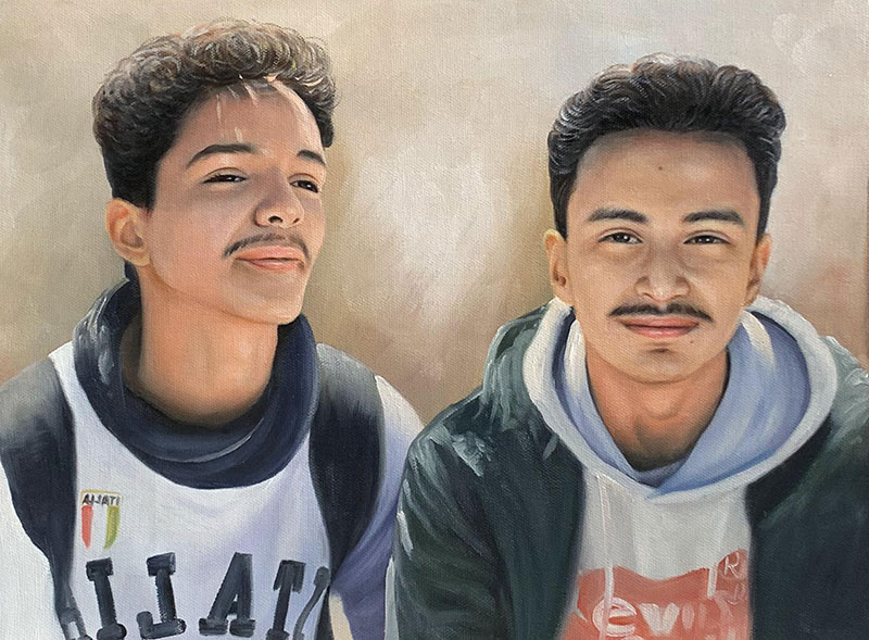 Custom handmade painting of two adults in oil