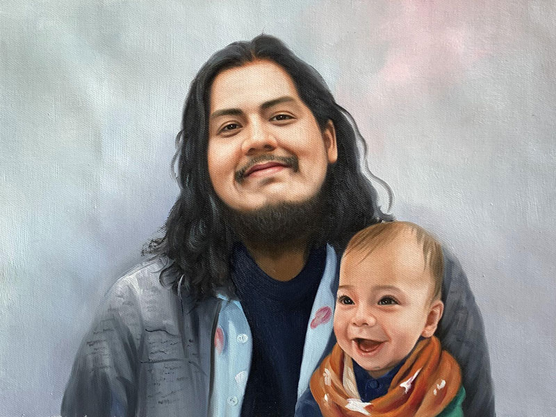 Beautiful handmade oil painting of a father and son