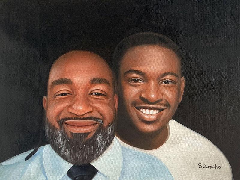 Custom handmade oil portrait of a parent and adult