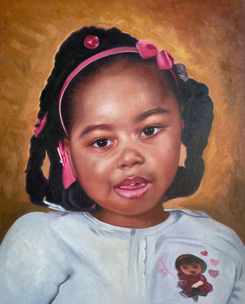 Custom handmade close up oil portrait of a little girl