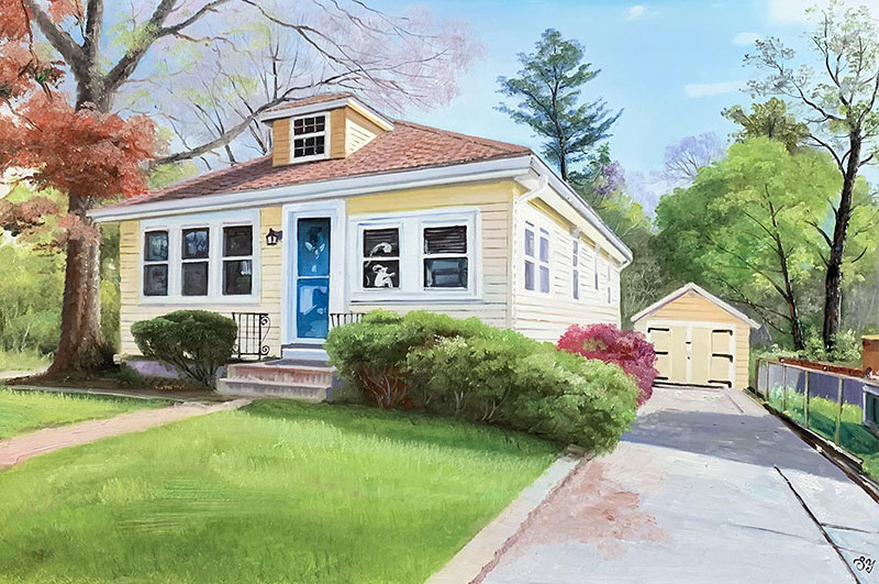 Beautiful realistic oil painting of a house