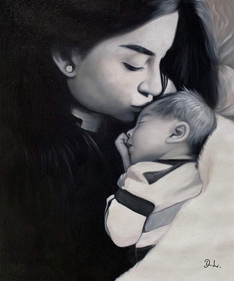 Sentimental oil painting of a mother and a newborn baby