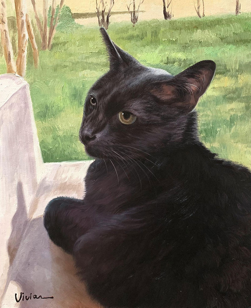 Custom oil painting of a black cat
