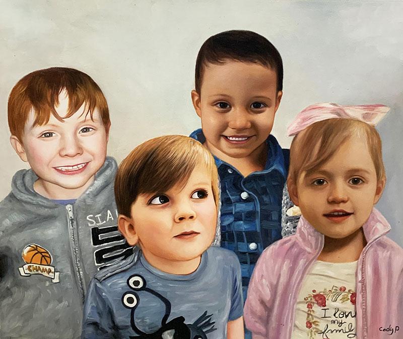 Beautiful handmade oil painting of four kids