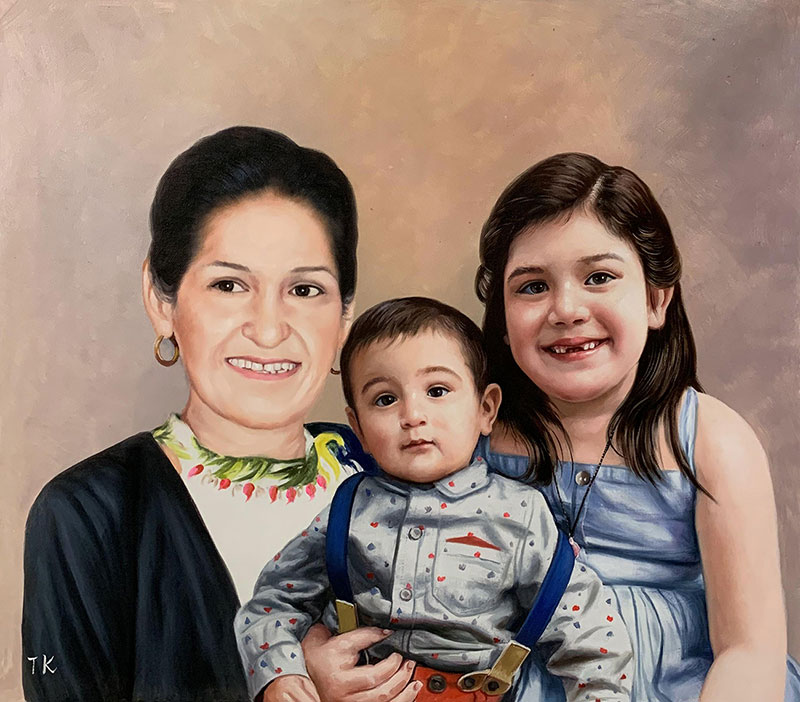 Custom oil painting of a grandmother with two children