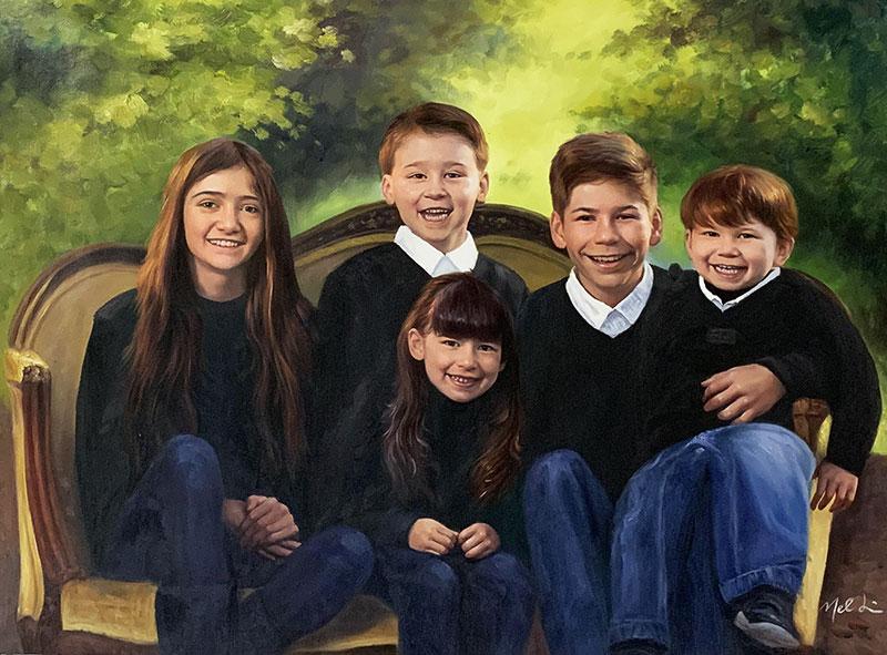 Beautiful oil portrait of five kids