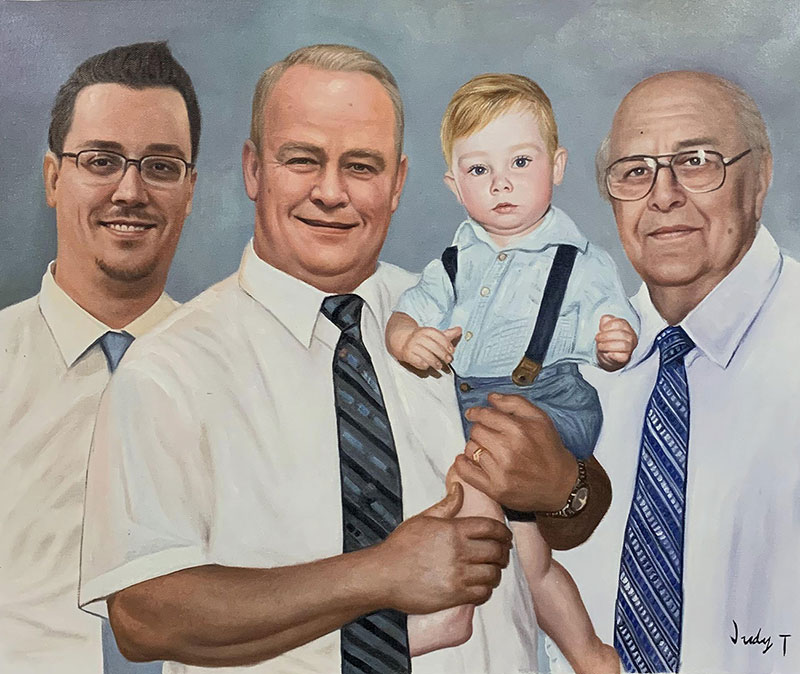Custom oil painting of a happy family