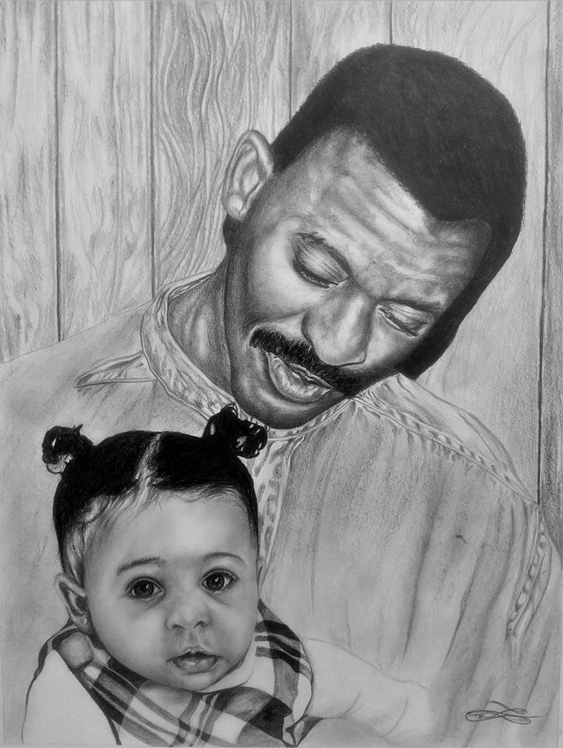 Gorgeous black pencil artwork of a father and child