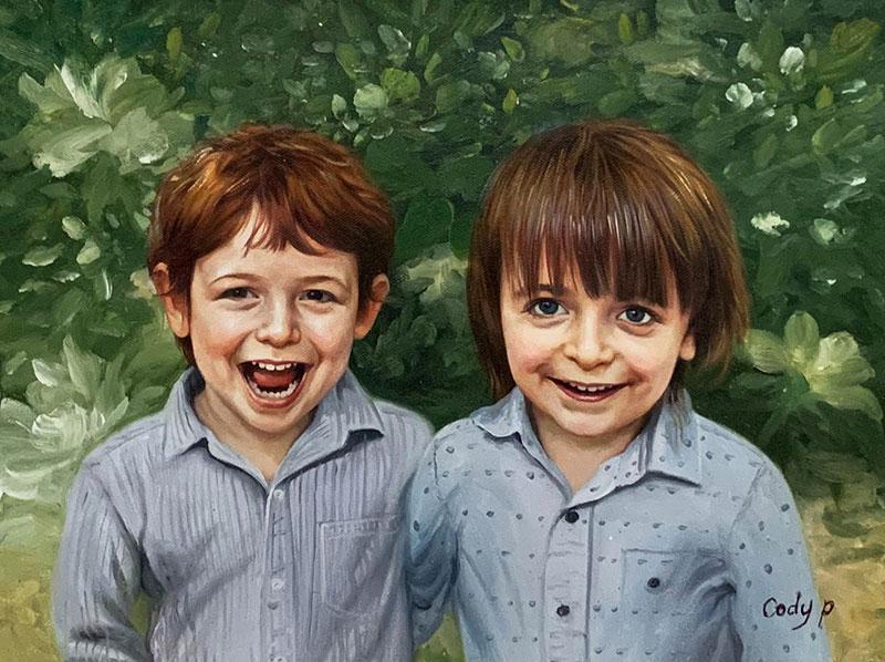 Custom handmade oil portrait of the two little boys