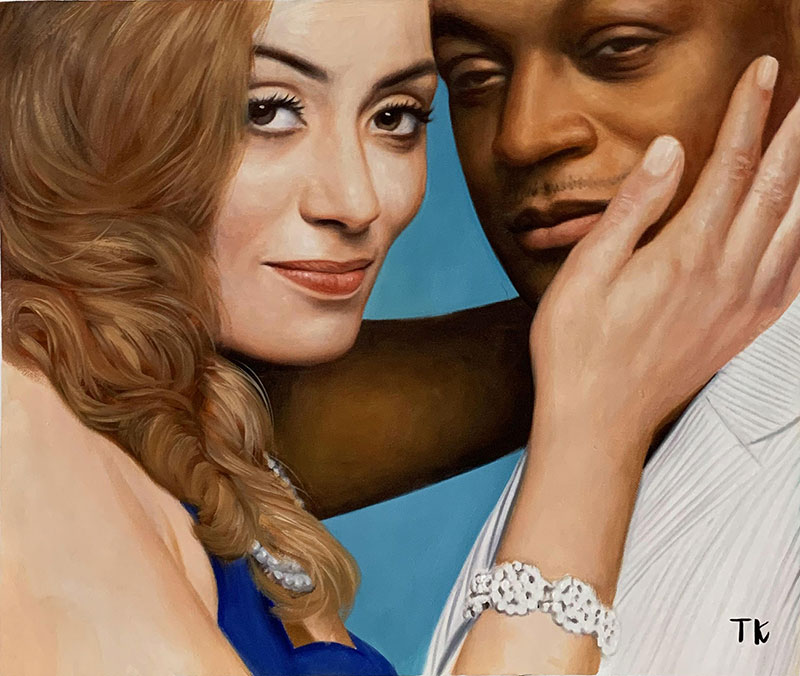 Beautiful oil painting of a loving couple