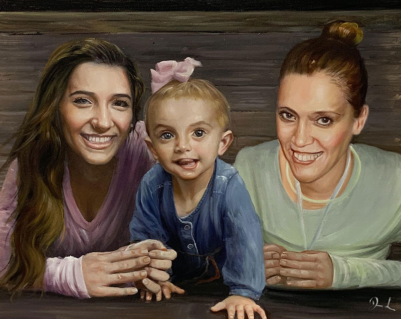 Gorgeous acrylic painting of two adults and child