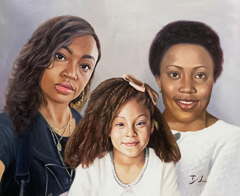 Gorgeous oil artwork of two adults with a little girl