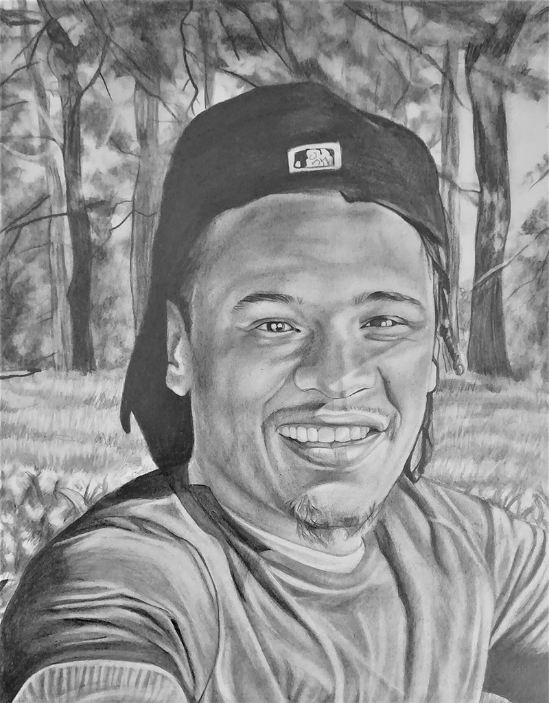 Personalized black pencil painting of an adult