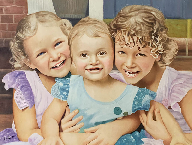 Gorgeous oil painting of the three little girls