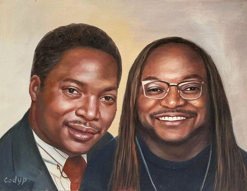Personalized oil artwork of two adults