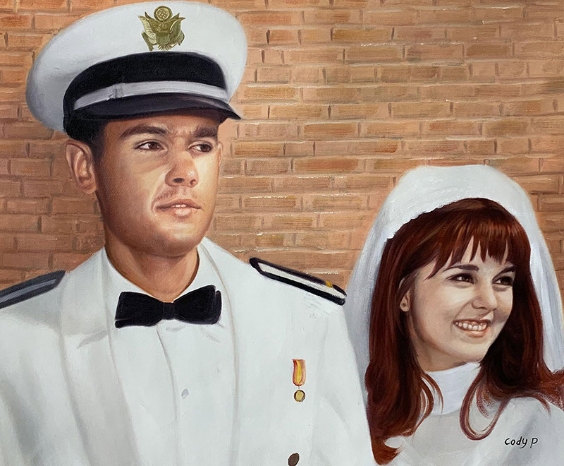 Beautiful handmade oil painting of a just married couple