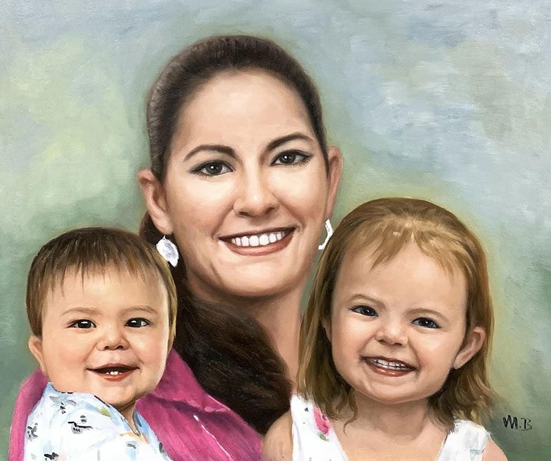 Personalized oil artwork of a mother with children