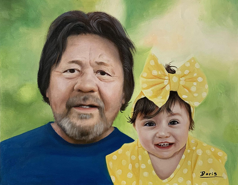 Beautiful handmade oil artwork of a man and a baby with bow