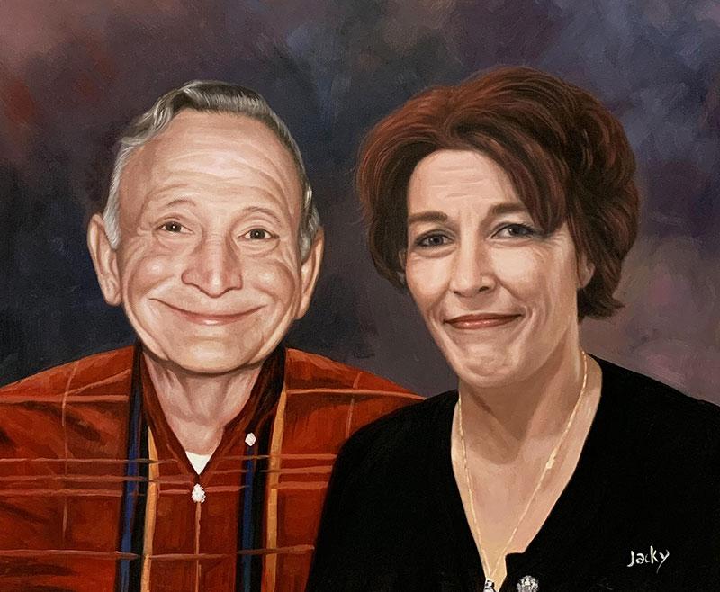Custom handmade oil painting of a loving couple