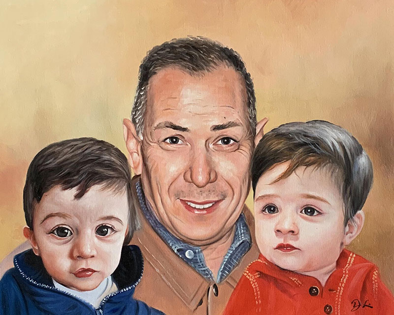 Beautiful oil painting of a father with children