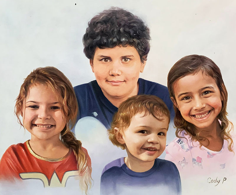Beautiful oil painting of four children