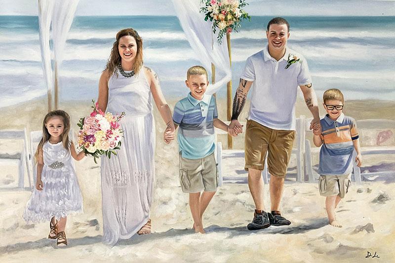 Beautiful acrylic wedding portrait of a happy family