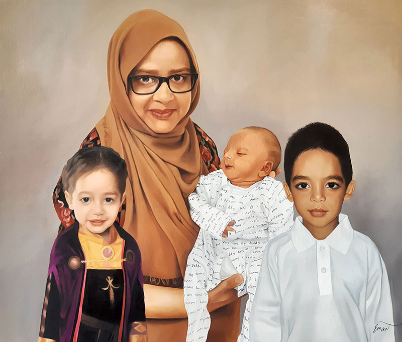 Stunning oil painting of a mother with three children