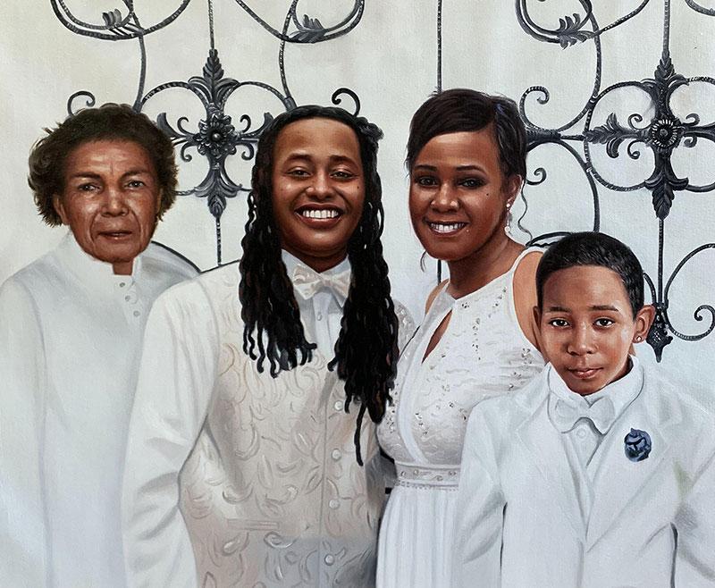 Custom handmade oil painting of a family on a wedding