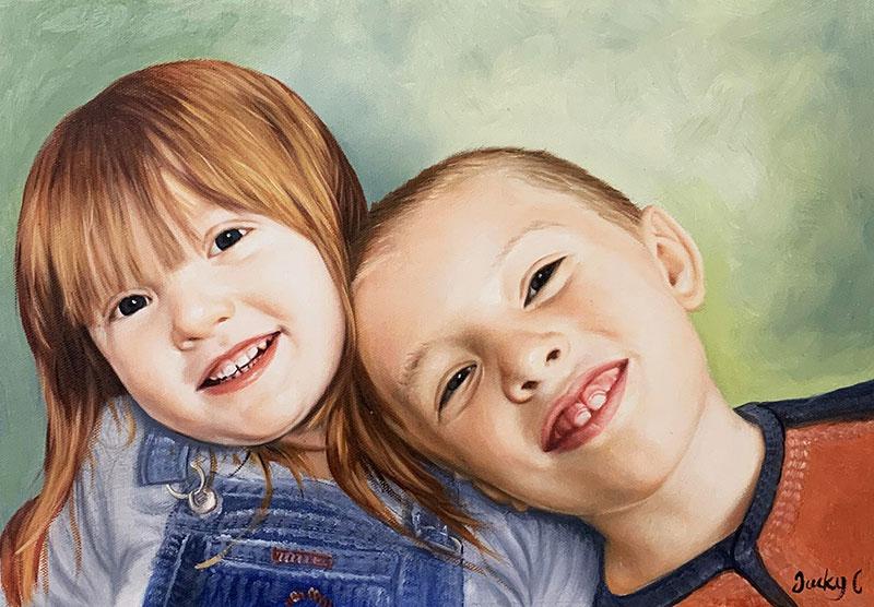 Gorgeous oil artwork of two children