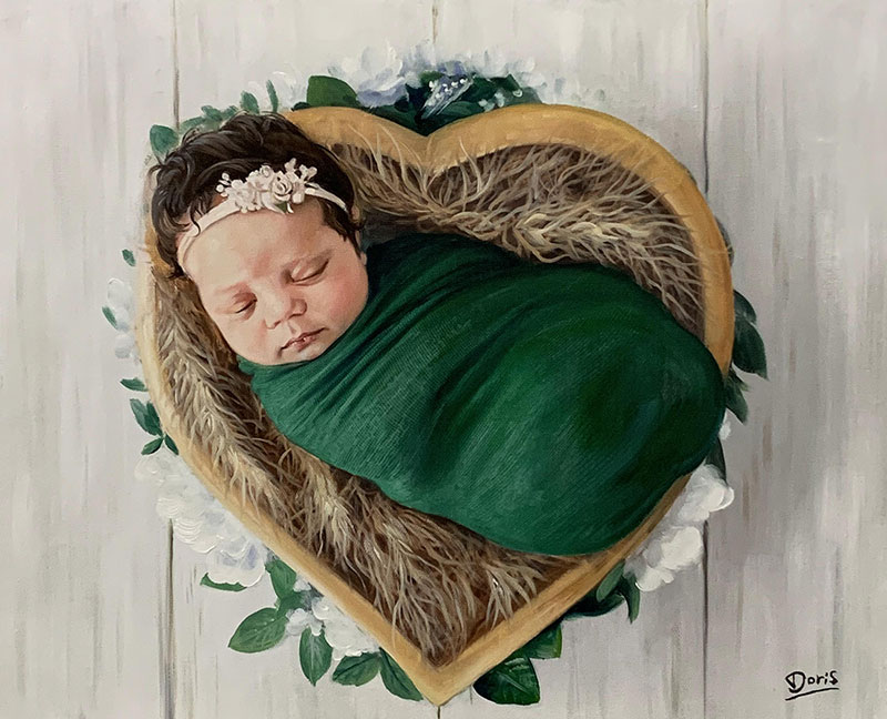 Gorgeous handmade acrylic painting of a baby