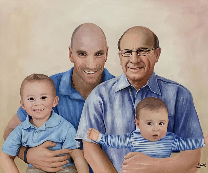 Custom oil portrait of a happy family