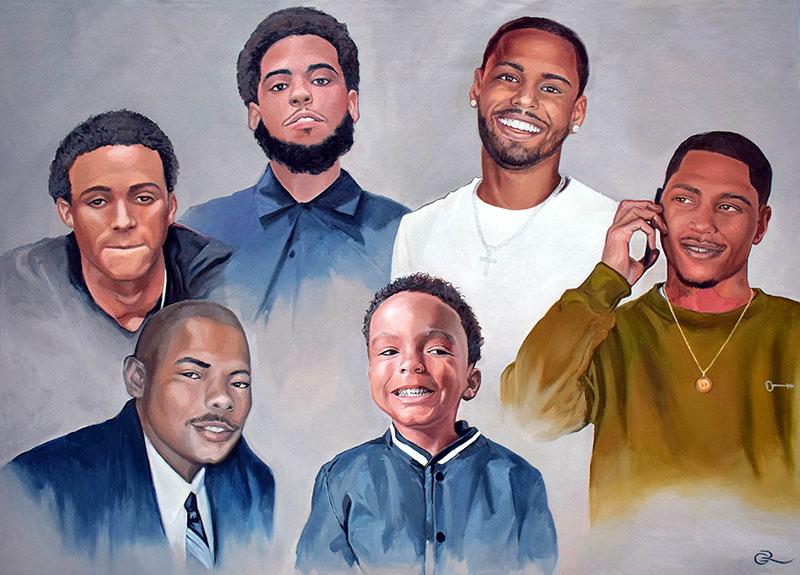Custom oil family portrait of six people