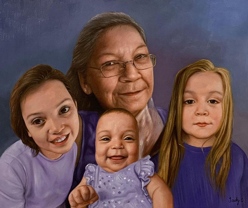 Custom oil artwork of a grandmother with three grandchildren