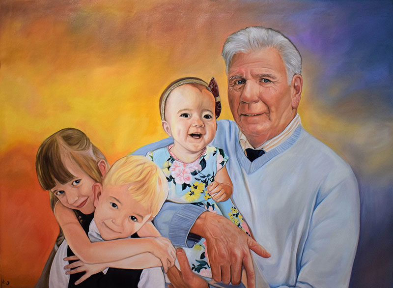 oil painting of the grandfather with his grandchildren