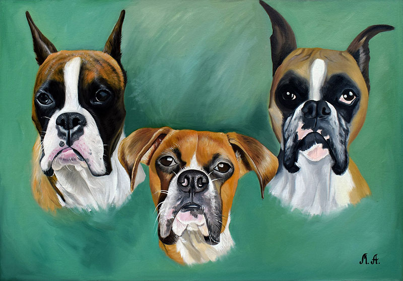 custom oil painting of three dogs