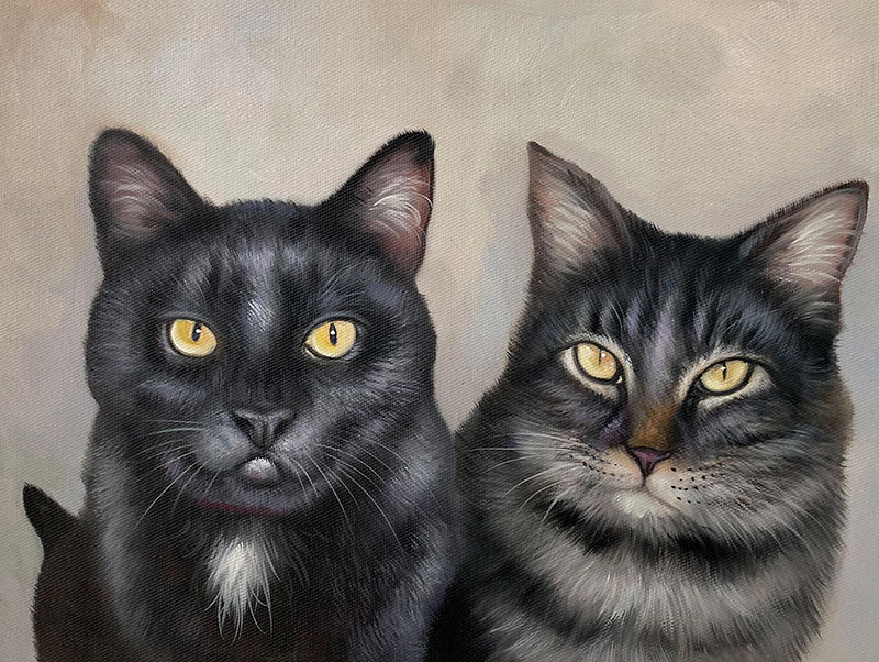 Beautiful oil painting of two cats with a solid background