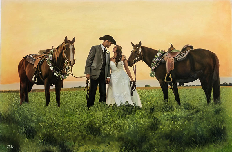 Beautiful oil painting of a just married couple with horses