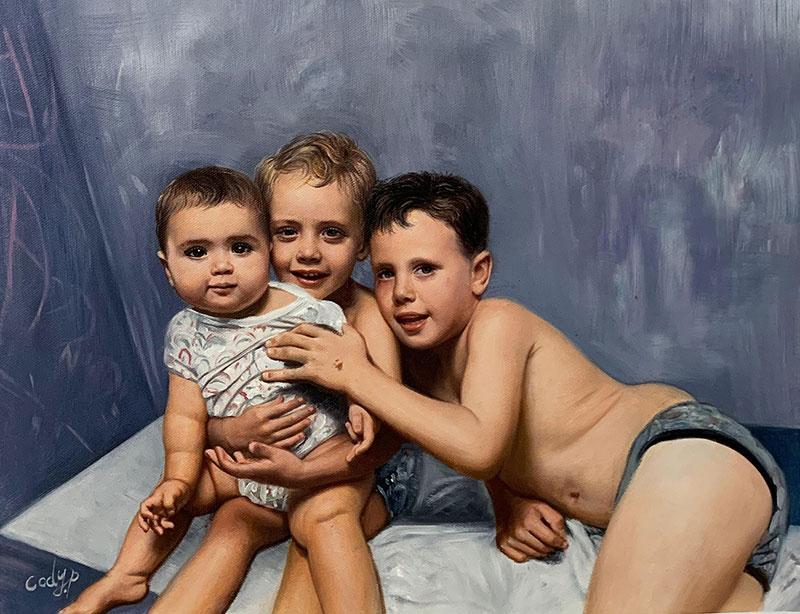 Beautiful oil painting of three children