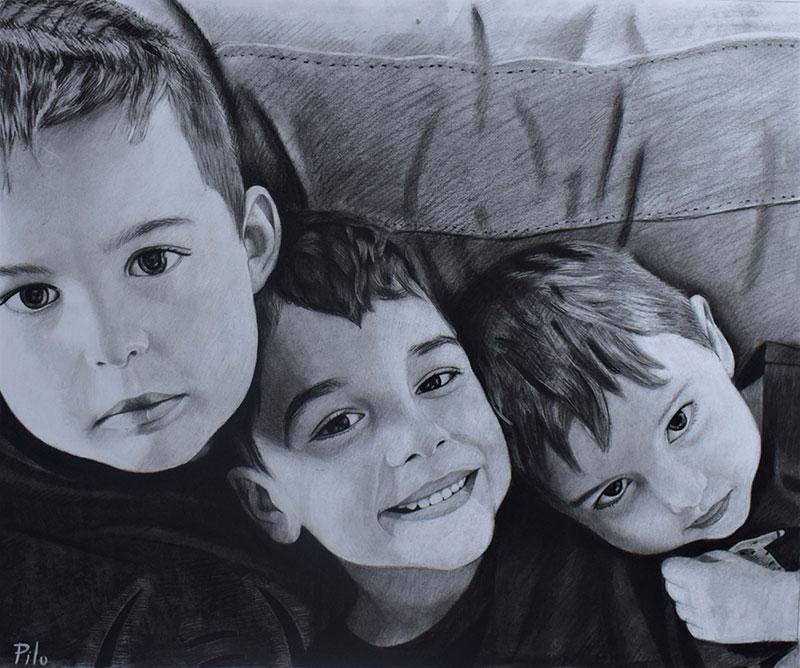 Beautiful charcoal drawing of three kids