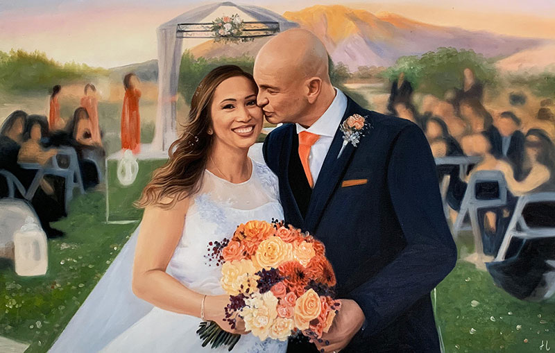 Beautiful wedding portrait of a happy couple