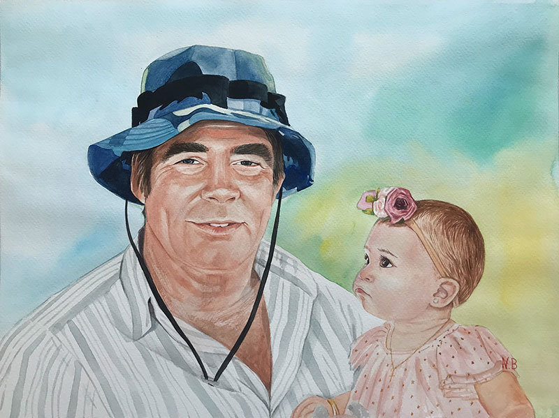 Gorgeous handmade watercolor painting of a man holding baby