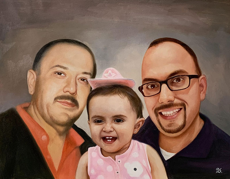 Beautiful acrylic painting of two adults with a girl