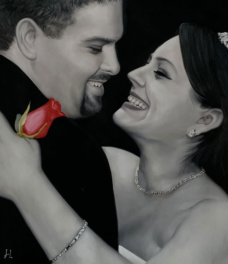 Black and white acrylic painting of a couple
