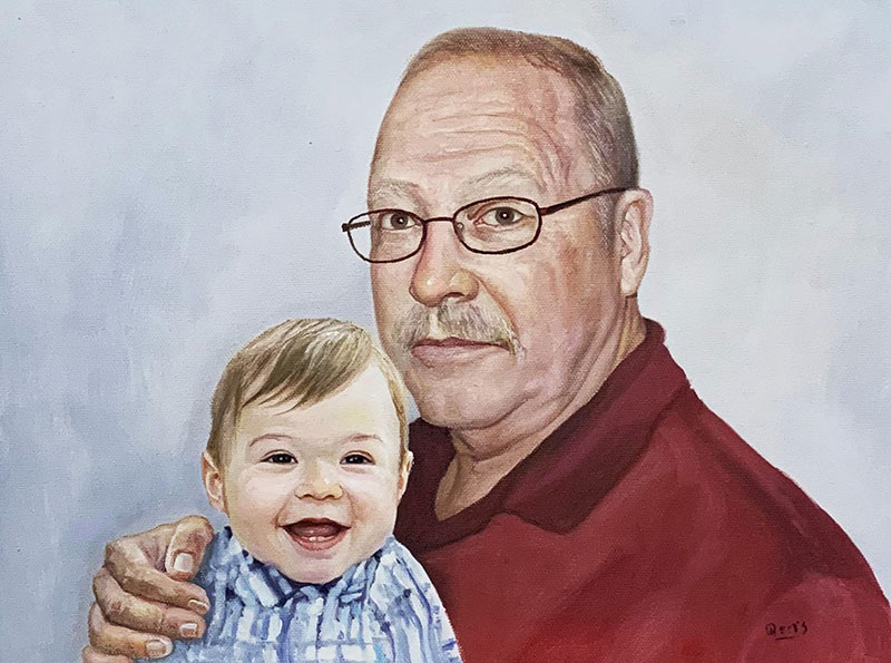 Custom oil painting of a man with a baby