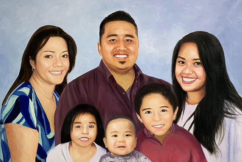 Personalized oil portrait of a happy family