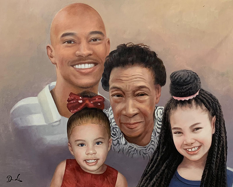 Beautiful acrylic painting of a loving family