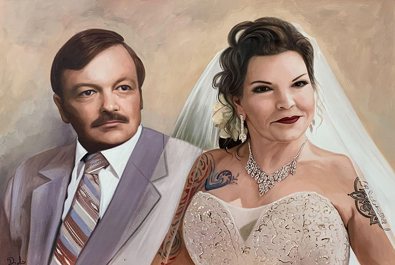 Beautiful handmade oil portrait of a just married couple
