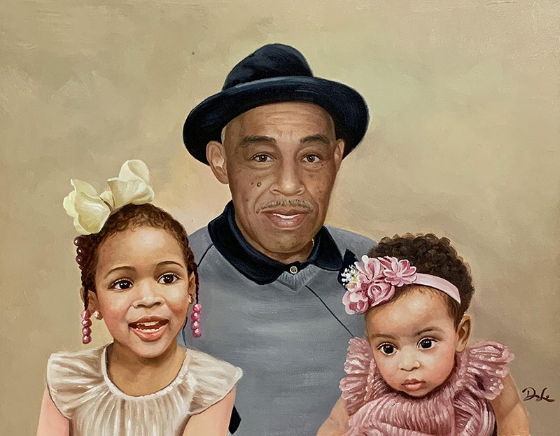 Stunning acrylic painting of a grandfather and grandchildren